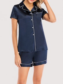 Dark Blue Single Breasted Pockets Short Jumpsuit Sleepwear Pajama Set
