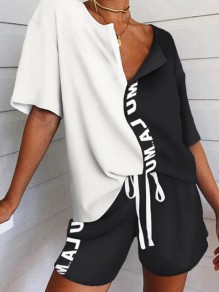 White-Black Patchwork Half Sleeve Two Piece Tracksuit Pajama Sleepwear Pajama Set