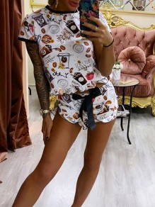 Black Candy Print Round Neck Short Sleeve Two Piece Ruffle Drawstring Waist Short Pajama Set