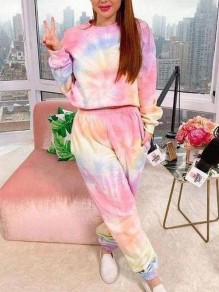 Pink Tie Dyeing Pockets Two Piece Casual High Waisted Long Sleepwear Pajama Set