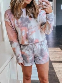 Pink Tie dye Print Hooded Long Sleeve Elastic Waist Short Pajama Sets