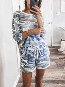 White Camouflage Print Round Neck Long Sleeve Drawstring Waist Short Pajama Set