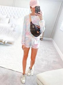 White Tie Dyeing Pockets Drawstring Two Piece Casual Short Jumpsuit Sleepwear Pajama Sets