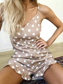 Coffee Polka Dot Print Shoulder-Strap V-neck Ruffle Short Romper Pajama