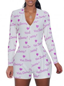 "White ""YES DADDY"" Print Buttons V-neck Long Sleeve Short Romper Pajama"
