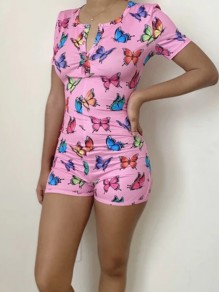 Pink Butterfly Print Buttons V-neck Short Sleeve Short Romper Pajama