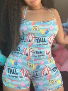 Blue Balloon Circus Striped Print Shoulder-Strap Square Neck Sleeveless Short Romper Pajama