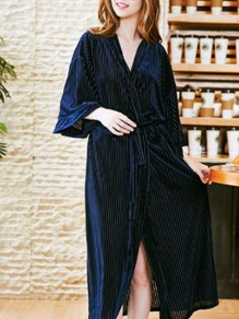 Navy Blue Patchwork Belt One Piece Lace Up Fashion Sleepwear Robe