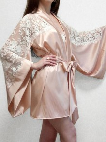 Champagne Patchwork Belt Lace V-neck Flare Sleeve Sleepwear Midi Dress