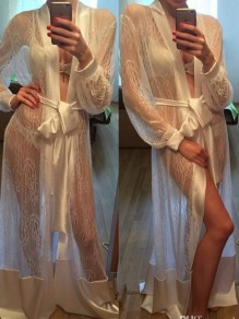 White Patchwork Lace Belt Sheer Pajama Sleepwear Robes