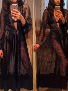 Black Patchwork Lace Belt Sheer Pajama Sleepwear Robes
