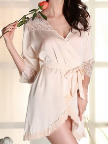 Champagne Lace Sashes Wavy Edge V-neck Elegant Pajamas Mini Dress