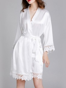 White Patchwork Lace Sashes Long Sleeve Satin Coat Sleepwear