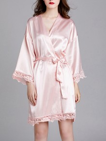 Pink Patchwork Lace Sashes Long Sleeve Satin Coat Sleepwear