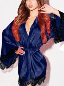 Blue Patchwork Lace Belt V-neck Bell Sleeve Sleepwear Robe