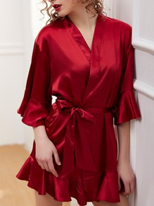 Date Red Ruffle Sashes V-neck Half Sleeve Elegant Sleepwear Robe Coat