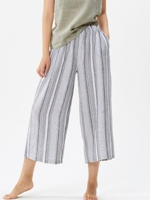 Grey Patchwork Print Wide Leg Pants Fashion Sleepwear Sleep Bottoms