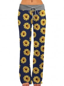 Blue-Yellow Daisy Pattern Drawstring High Waisted Pajama Sleepwear Long Pants