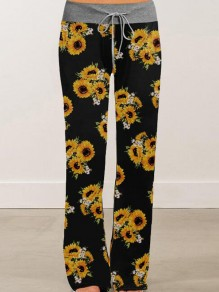 Black Sunflowers Pattern Drawstring High Waisted Pajama Sleepwear Long Pants