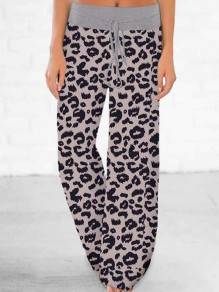 Grey Leopard Pattern Drawstring High Waisted Pajama Sleepwear Long Pants