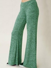 Green Draped Flare Bell Bottom Elastic Waist Plus Size Pajama Sleepwear Long Pants