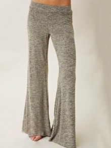 Light Grey Draped Flare Bell Bottom Elastic Waist Plus Size Pajama Sleepwear Long Pants