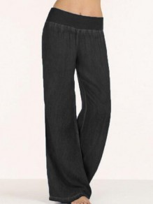 Black Wide Leg Palazzo Casual Pajama Long Pants