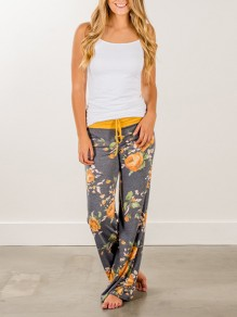 Yellow Floral Print Drawstring Wide Leg Casual Yoga Sleepwear Pajamas Pant