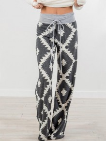 Grey Geometric Pattern Drawstring High Waisted Pajama Sleepwear Wide Leg Palazzo Long Pants