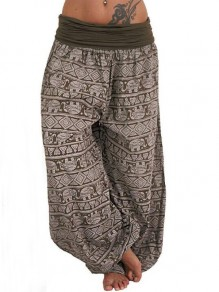 Khaki Elephant Pattern High Waisted Haren Sleepwear Palazzo Long Pants