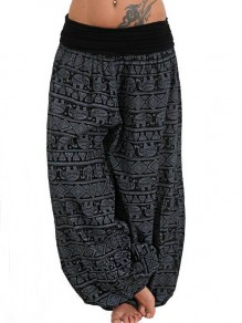 Black Elephant Pattern High Waisted Haren Sleepwear Palazzo Long Pants