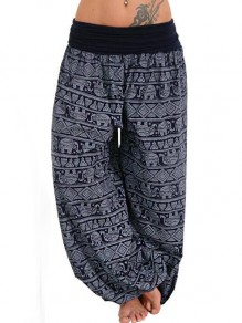 Navy Blue Elephant Pattern High Waisted Haren Sleepwear Palazzo Long Pants