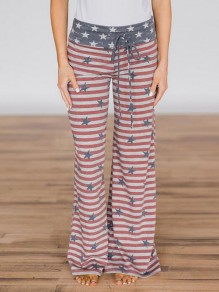 Red-Blue American Flag Pattern Pockets Drawstring Independence Day Wide Leg Palazzo Pajama Sleepwear Long Pants