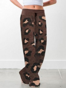 Brown Leopard Pattern Pockets Drawstring High Waisted Wide Leg Palazzo Pajama Sleepwear Long Pants