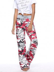 Red Camouflage Pattern High Waisted Wide Leg Palazzo Pajama Cargo Sleepwear Long Pants