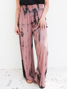 Pink Tie Dye High Waisted Wide Leg Palazzo Pajama Cargo Sleepwear Long Pants
