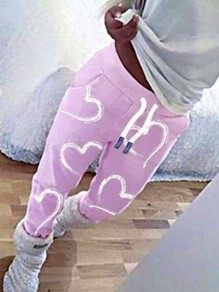 Pink Love Pattern Drawstring High Waisted Haren Pajama Sleepwear Long Pants