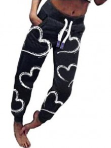 Black-White Love Pattern Drawstring High Waisted Haren Pajama Sleepwear Long Pants