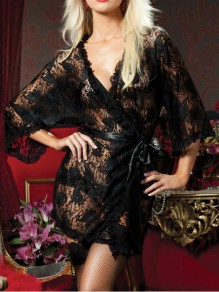 Black Floral Lace Sashes 3/4 Sleeve Irregular Pajama Nightwear Night Robe