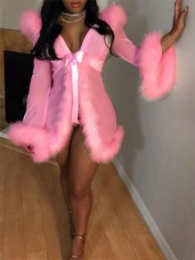 Pink Patchwork Faux Fur Flare Sleeve Two Piece Lingerie Nightwear Night Robe