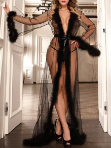 Black Patchwork Grenadine Feather Belt V-neck Long Sleeve Sheer Night Robe