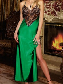 Green Lace Satin Slit Spaghetti Strap Backless V-neck Nightgown Pajamas Maxi Dress
