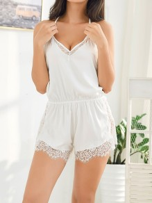White Patchwork Lace Backless Short Jumpsuit Night Romper