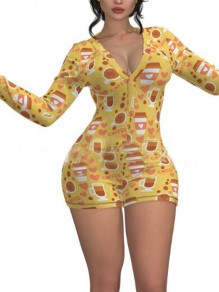 Yellow Cartoon Coffee Pattern Single Breasted Deep V-neck One Piece Pajama Nightwear Night Romper