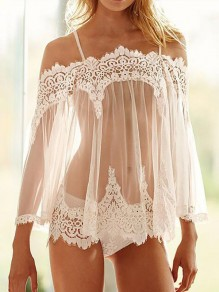 White Patchwork Lace Grenadine Off Shoulder Long Sleeve Sheer With Panty Pajama Night Set