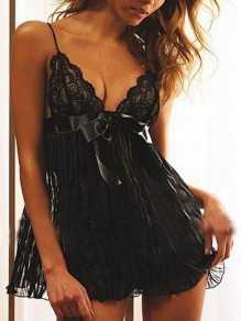 Black Patchwork Lace Grenadine Spaghetti Strap Sheer V-neck Nightwear Night Tops