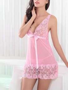 Pink Patchwork Lace 2-in-1 V-neck Sleeveless Fashion Lingerie Lingerie