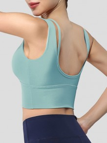 Blue Cut Out Backless Non-adjusted Straps Sports Bra