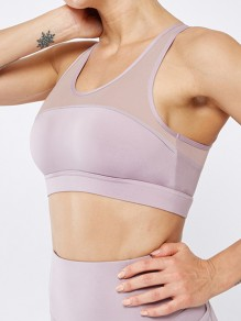Purple Patchwork Grenadine Cut Out Non-adjusted Straps Sports Bra