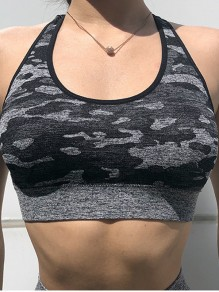Black Camouflage Cross Back Running Fitness Sports Bra
